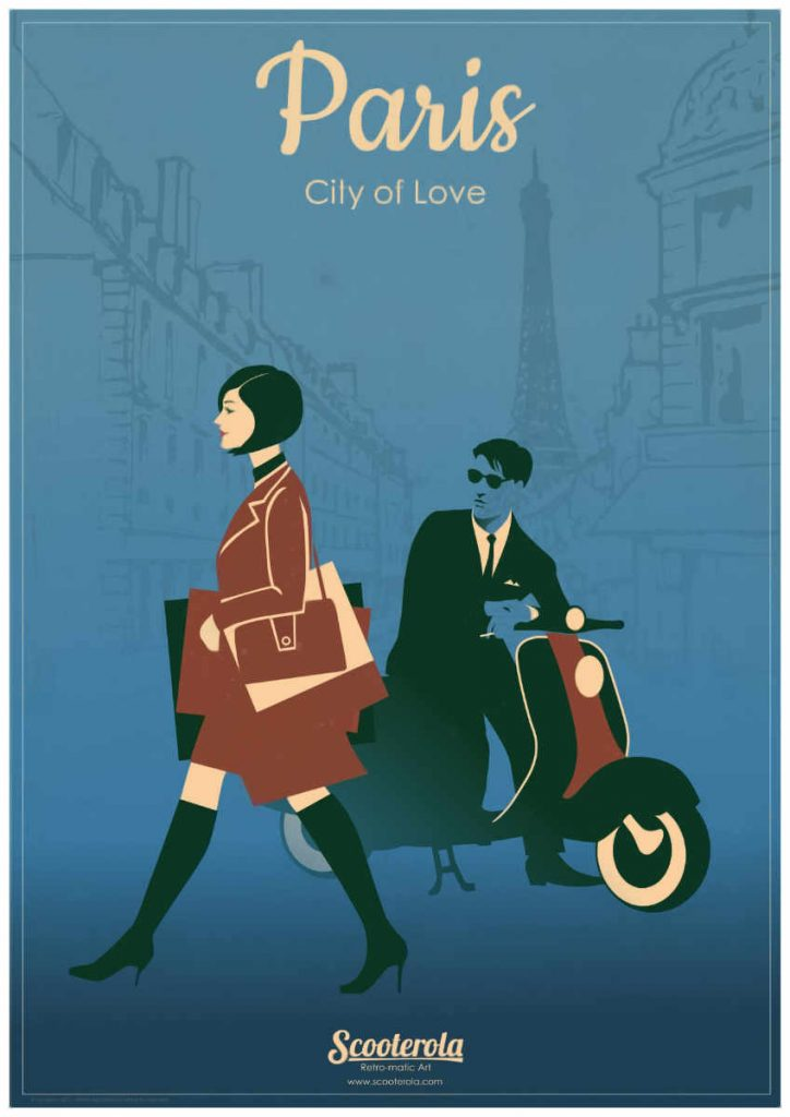 Paris City of Love retro stylish poster by Kevin McSherry at Scooterola.