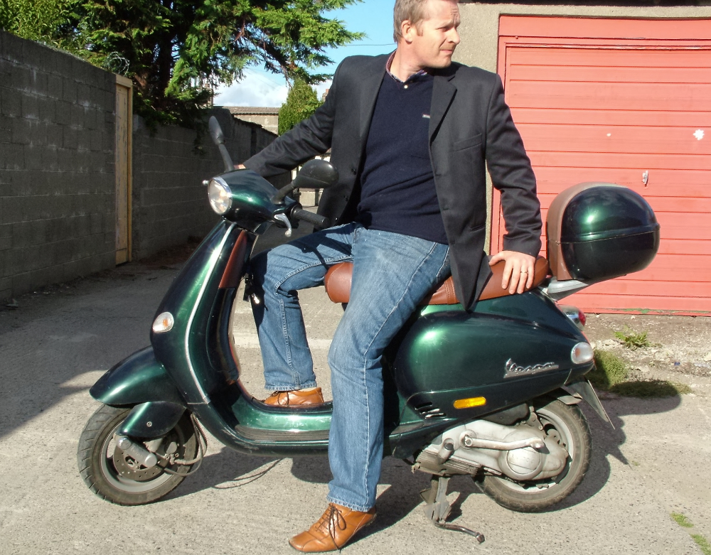 Kevin McSherry on Vespa ET4 scooterola reto prints