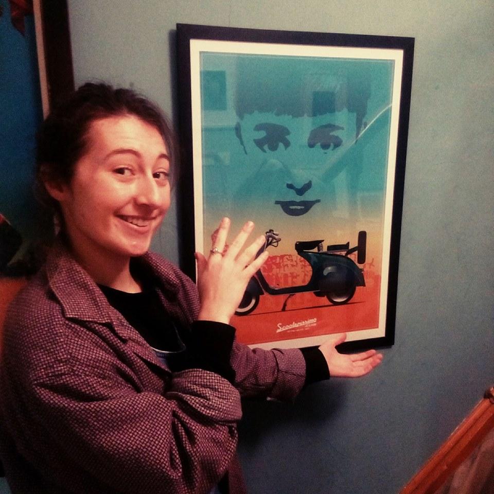 Mathilde-scooterola-icon-poster-dublin-framed-testimonial-roman-holiday-vespa-a1