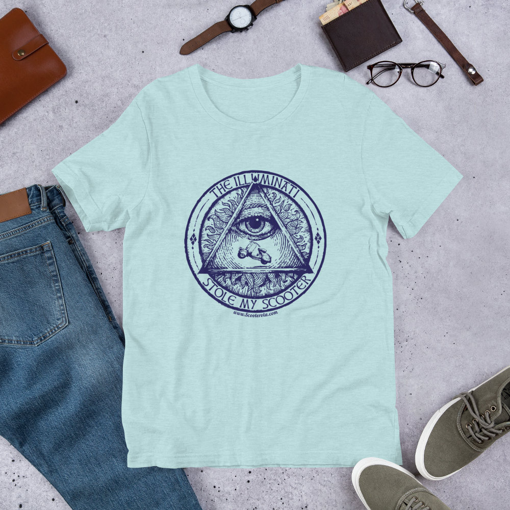 Retro Vespa T-Shirt - the illuminati stole my scooter in various colours