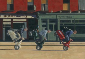 121212-Early-sunday-Morning-scooters-kevin-mcsherry-acrylics-painting