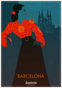 SC180214 Barcelona scooterola kevin mcsherry retro print poster