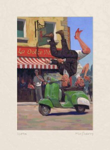 SC 130701 Art of Scootering La Dolce Vita Mounted  A3 Print